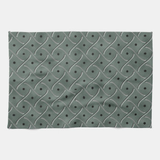 Swirly Floor Plate With Polka Dots On Hunter Green Towels