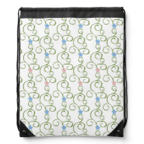 Swirly Floral Stars Drawstring Backpack
