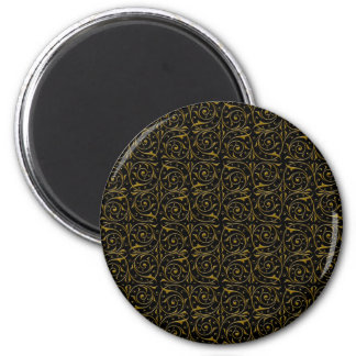 Swirly Floral Vines Pattern in Gold over Black Magnet