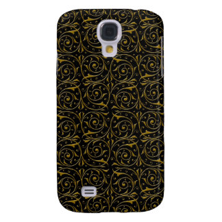 Swirly Floral Vines Pattern in Gold over Black Samsung Galaxy S4 Case