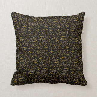 Swirly Floral Vines Pattern in Gold over Black Throw Pillow