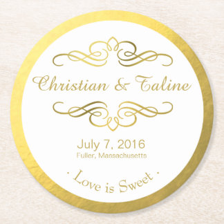 Swirly Flourish Faux Gold Foil on White Round Paper Coaster
