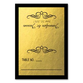 Swirly Flourish Place Cards | gold black