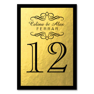 Swirly Flourish with Outline Table Numbers | gold Card