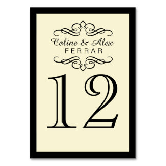 Swirly Flourish with Outline Table Numbers | ivory
