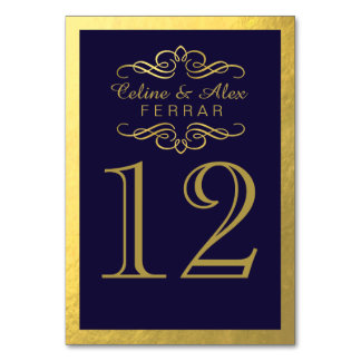 Swirly Flourish with Outline Table Numbers | navy