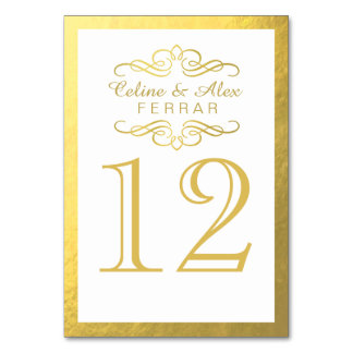 Swirly Flourish with Outline Table Numbers | white Card