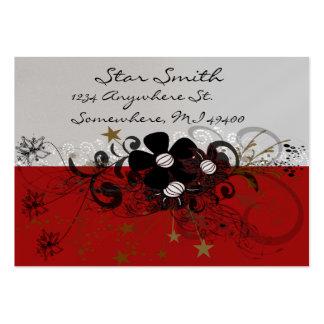 Swirly Flower Business Card - Burgundy