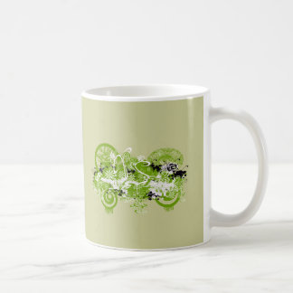 Swirly Flower Design Coffee Mug