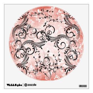 Swirly Flower Vines Round Wall Decal