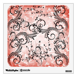 Swirly Flower Vines Square Wall Decal