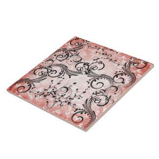 Swirly Flower Vines Tile/Trivet Tile
