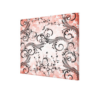Swirly Flower Vines Wrapped Canvas Print Canvas Print
