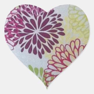 Swirly Flowers Heart Sticker