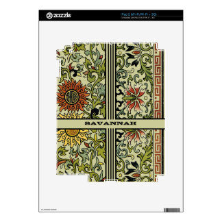 Swirly Flowers Personalized iPad Skin Choose Color