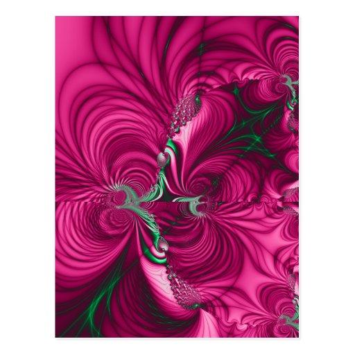 Swirly · Fractal Art · Pink & Green Post Card
