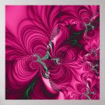 Swirly · Fractal Art · Pink & Green Poster