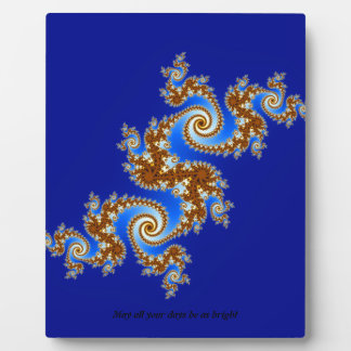 Swirly Fractal Blue Brown Photo Plaque