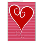 Swirly Funky Hot Red Heart Valentine's Day Card