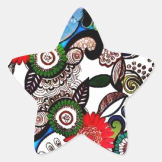 Swirly Funky Multicolored Doodles Star Sticker