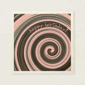 Swirly Girly  Chocolate and Strawberry Pink Paper Napkin