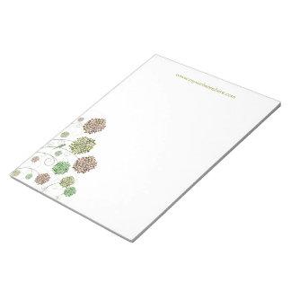 Swirly Girly Modern Flower Designer Business Pad