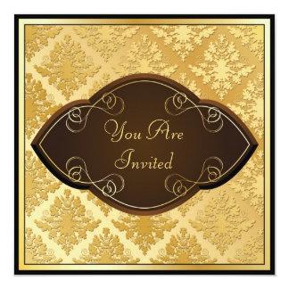 Swirly Golden Damask Invitation