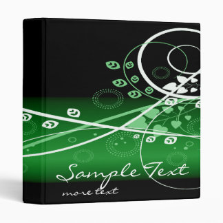 Swirly Green and White Abstract Vines 3 Ring Binder