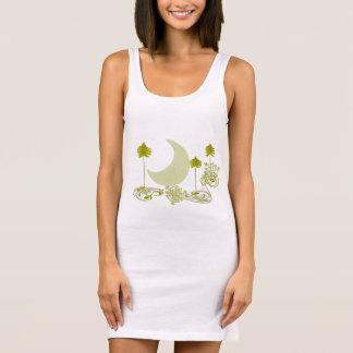 Swirly Green Tree Tunic Sleeveless Dress