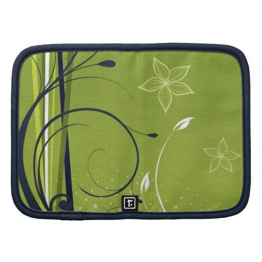 Swirly Grunge Green Flowers Folio Planner