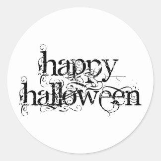 Swirly Grunge Happy Halloween Round Stickers