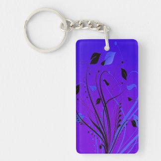 Swirly Grunge On Blue Keychain
