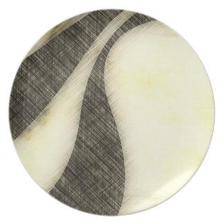 Swirly Grunge Sepia Layout Dinner Plate