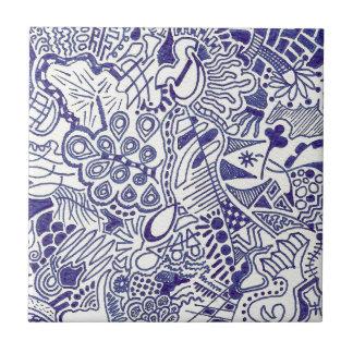 Swirly Hand Doodled Ceramic Tile