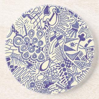 Swirly Hand Doodled Sandstone Coaster