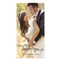 Swirly Hand Lettered Script Wedding Photo Card