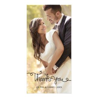 Swirly Hand Lettered Script Wedding Photo Card