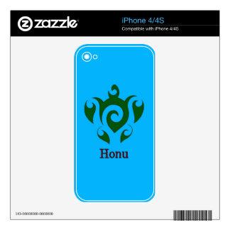 Swirly Hawaiian Green Sea Turtle on Ocean Blue Decal For iPhone 4