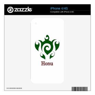 Swirly Hawaiian Green Sea Turtle on White Skin For iPhone 4