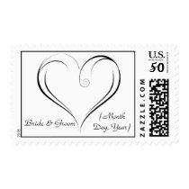 Swirly Heart Custom Wedding Postage Stamp