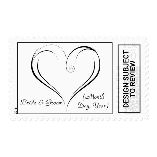 Heart Custom Wedding Postage Stamp