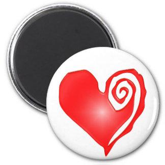 swirly heart  on black or white magnet