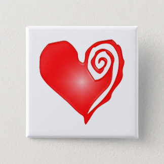 swirly heart  on black or white pinback button