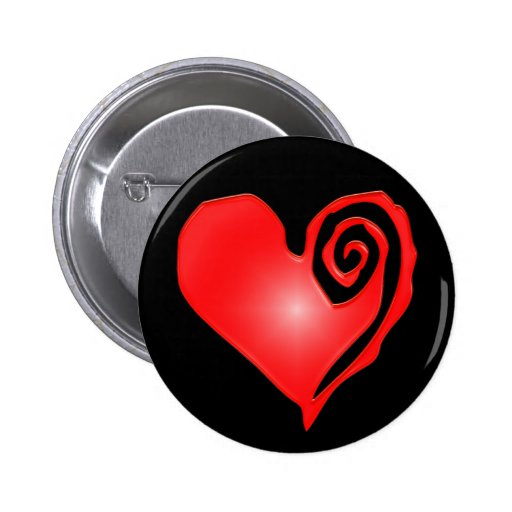 swirly heart  on black or white pinback buttons