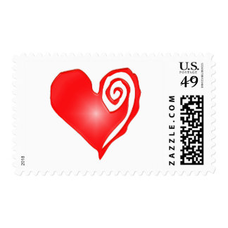 swirly heart  on black or white postage