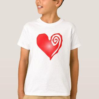 swirly heart  on black or white T-Shirt