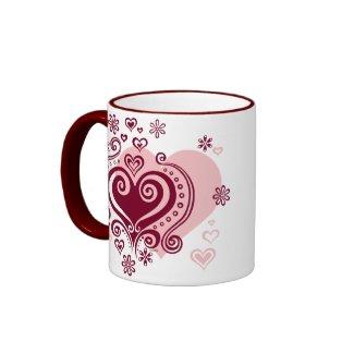 Swirly hearts and flowers Mug mug