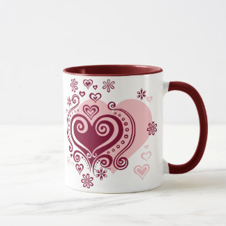 Swirly hearts and flowers Mug