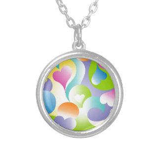 Swirly Hearts Round Pendant Necklace