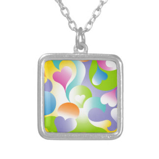 Swirly Hearts Square Pendant Necklace